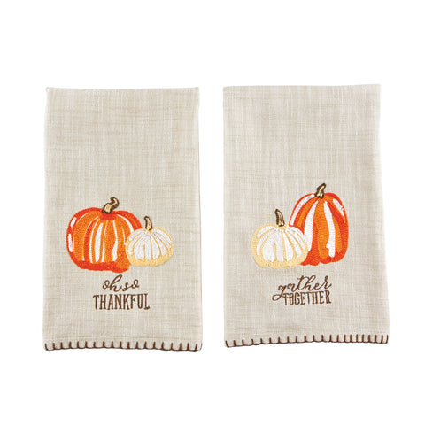 Mud Pie MP 41500083 Embroidered Pumpkin Towels