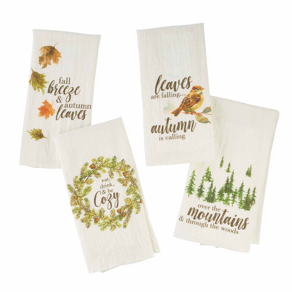 Mud Pie MP 41500129 Foliage Watercolor Towels