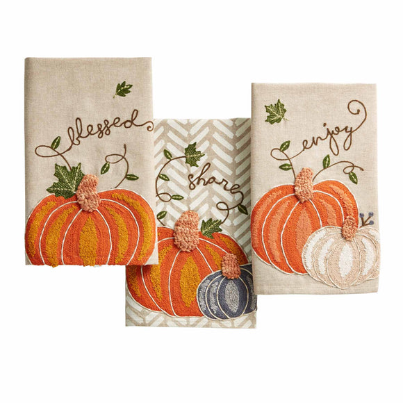 Mud Pie MP 41500136 Embroidered Pumpkin Towels