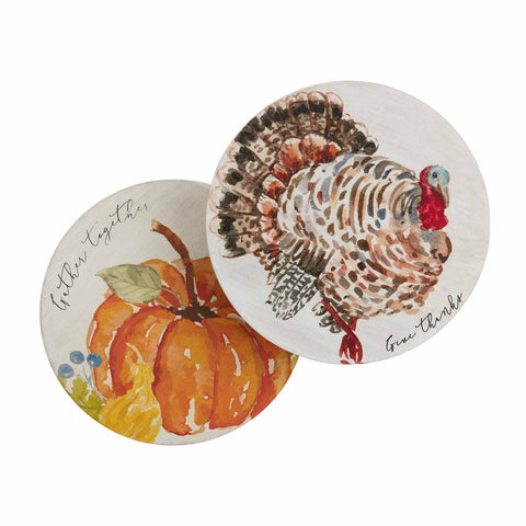 Mud Pie MP 40000007 Turkey & Pumpkin Trivet