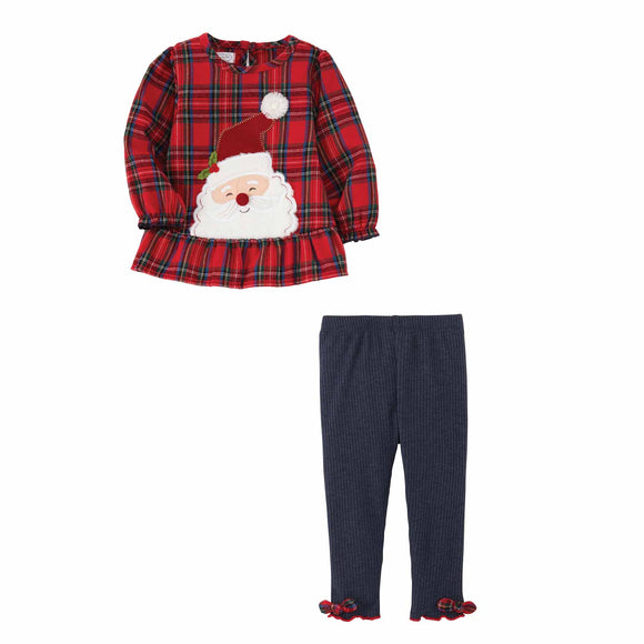 Mud Pie MP 11010221 Santa Tartan Tunic Legging Set