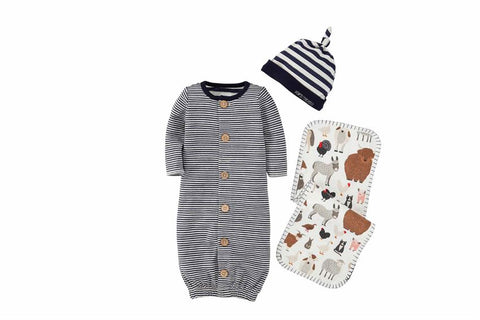 Mud Pie MP 11010238 Blue Stripe Boxed Gift Set