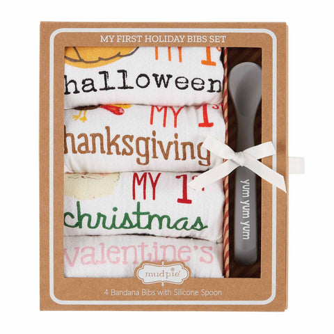 Mud Pie MP 10280106 My 1st Holiday Bibs Set