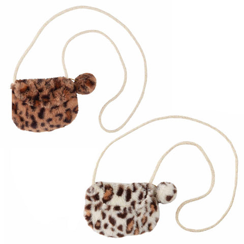 Mud Pie MP 10010068 Leopard Faux Fur Purses