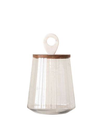 Bloomingville BV AH0694 Glass Jar w/Mango Wood & Marble Lid