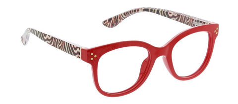 Peepers PS 2716 Jungle Fusion Blue Light Reading Glasses - Red/Zebra