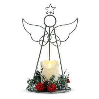 Demdaco 2020200322 Lit Wire Angel withe LED Candle fig