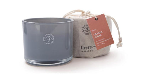 Southern Firefly Candle Co SF WPKC10001 Firefly Kindred 10 oz Milky Grey Glass + Firefly Logo w/Linen Bag Orange Clove