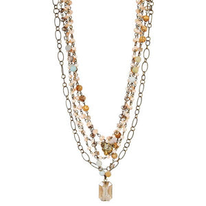 Lula 'n' Lee LL Lilly-34 Pearls Crystals and Gemstones Necklaces - Lilly