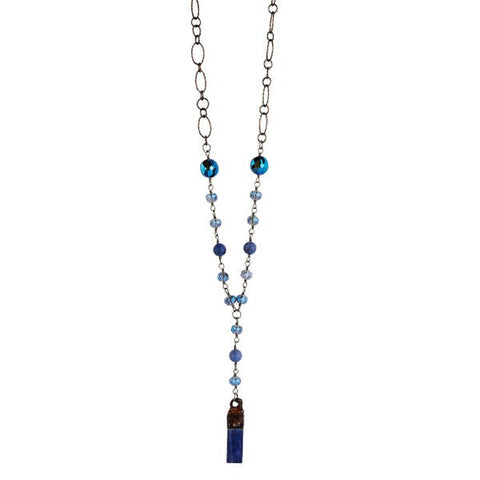 Lula 'n' Lee LL LN1230-36 24' Crystal Lapis and Chain Necklace W/Soldered Slab Pendant
