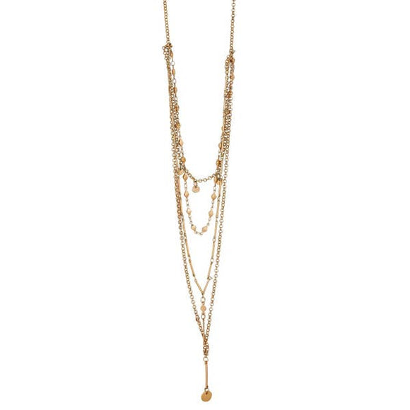 Lula 'n' Lee LL VN.5246-16 Multi Strand Gold Plated Chain with Gold Accents