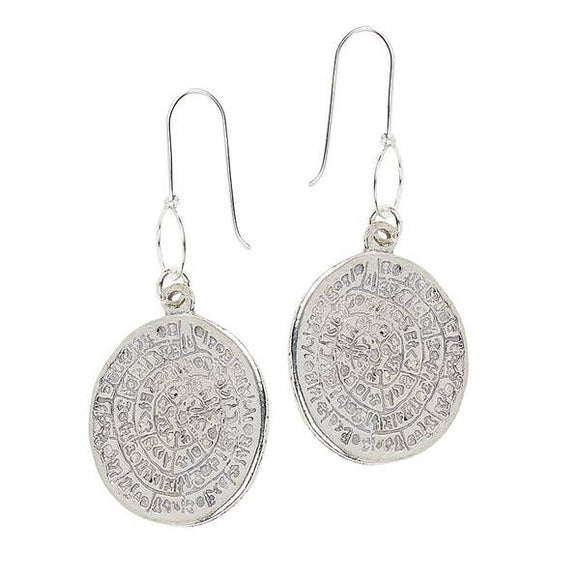 Lula 'n' Lee LL E.586-14 Pewter Dangle Coin Pendant Earrings