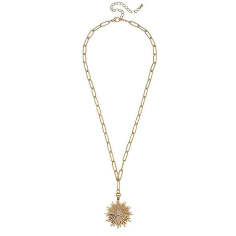 Canvas Jewelry CV 21752N-GD Sunburst Paperclip Chain Necklace