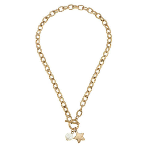 Canvas Jewelry CJ 21744N-ST Star T-Bar Charm Necklace
