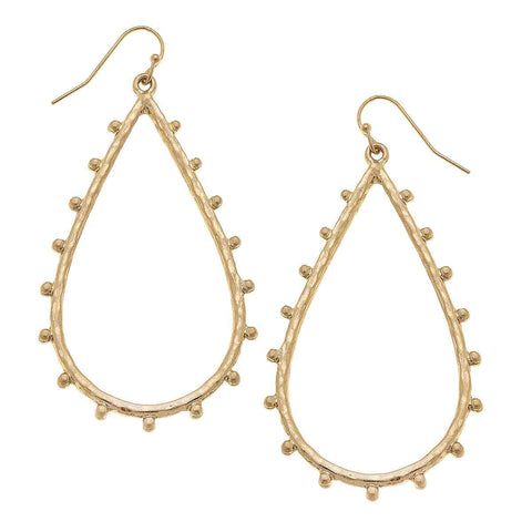 Canvas Jewelry CJ 21628E - GD Della Teardrop Earrings In Worn Gold