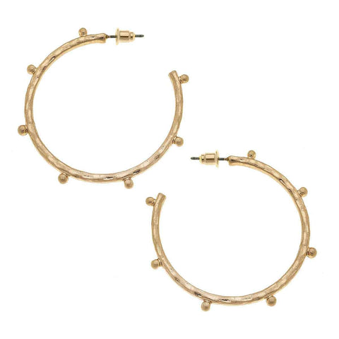 Canvas Jewelry CJ 21629E - GD Josie Hoop Earrings In Worn Gold