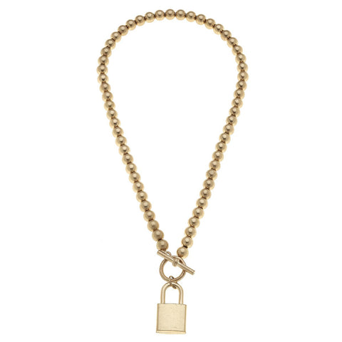 Canvas Jewelry CJ 21687N-GD Grayson Padlock T-Bar Necklace
