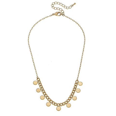 Canvas Jewelry CJ 21896N-GD Maya Curb Chain Disc Necklace