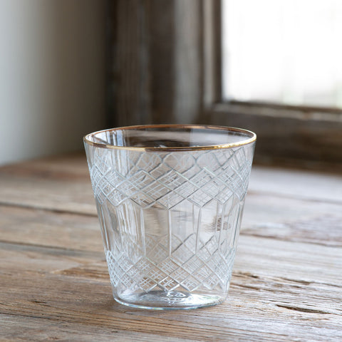 Park Hill Collections PH EAB00171 Cut Glass Votive Cup W/Gold Plated Rim