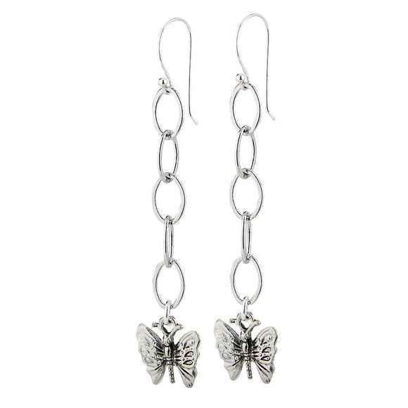 Lula 'n' Lee LL LE.546-10-Silver Plated Chain w/Butterfly Earrings