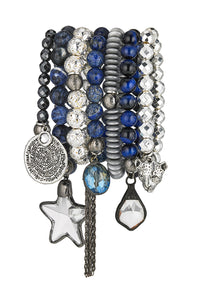 Lula 'n' Lee LL ST.Blue-72 Bangle Bracelet in Blue Gemstones/Metals w/Silver Pewter & Crystal Pendants