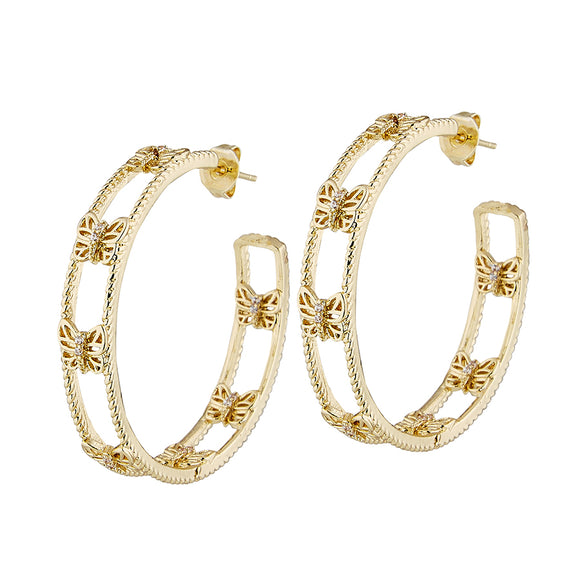 Lula 'n' Lee LL VE041-10 Vibe Gold Plated Hoop Earrings with Butterflies