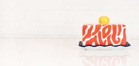 Coton Colors CC-ZEB-BDISH-PSM Zebra Butter Dish Persimmon
