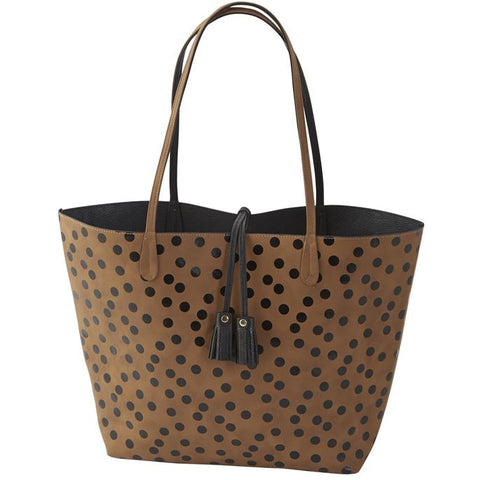 Mud Pie MP-8613179TNBK Reagan Reversible Tote Tan/Black Confetti Dot