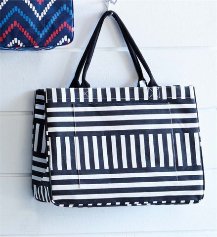 Mud Pie MP-8613040BKMS Daytripper Tote Black Stripe