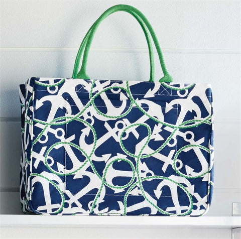 Mud Pie MP-8613040NA Daytripper Tote Navy Anchors
