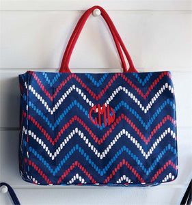 Mud Pie MP-8613040NR Daytripper Tote Navy/Red Zig