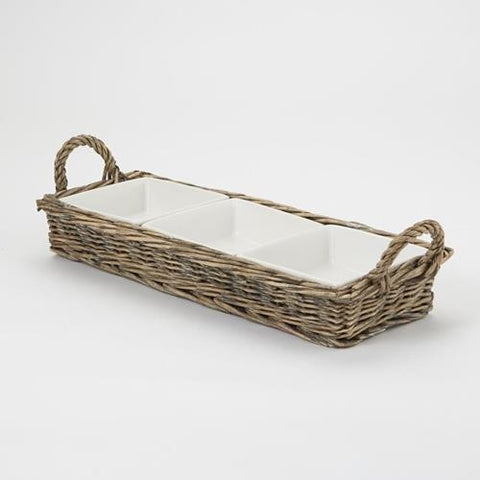 Mud Pie MP-4171058 Triple Section Server Willow Basket Set
