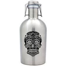 Susquehanna Glass Co. SG- Sugar Skull Stainless Silver Growler