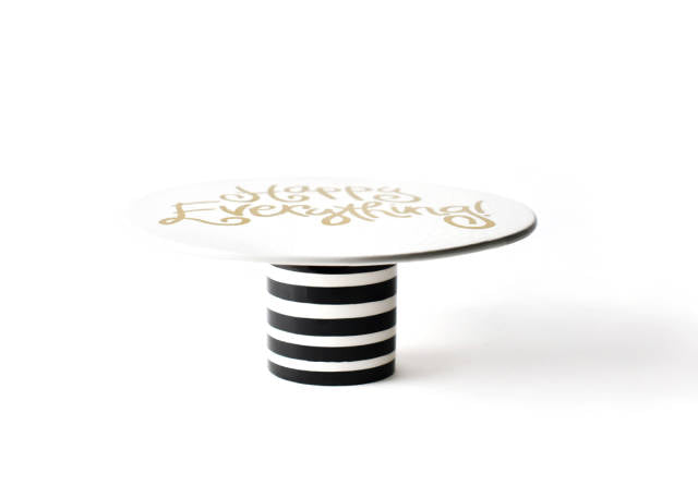 "Coton Colors CC-CAKE11-STR-BLK Black Stripe Happy Everything 11"" Cake Stand"