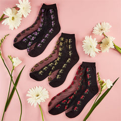 Two's Company TC 22180-20 Flower Sheer Sock Assorted Colors