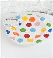 Coton Colors Bright Dot Big Entertaining Platter with Now Serving Attachment