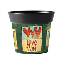 Painted Peace Love Mom Art Pot