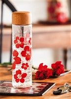 Floral Symphony Glass Water Bottle 20oz