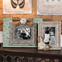 Vintage Wooden Photo Frame Burlap & Rosette Accents-Set of 2