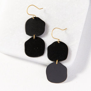 INK+ALLOY IA MBER801BL Black Brass Matte Double Organic Circle Earring2.5""