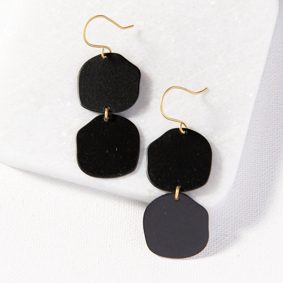 INK+ALLOY IA MBER801BL Black Brass Matte Double Organic Circle Earring2.5