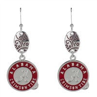 University of Alabama Swirl Drop Earrings