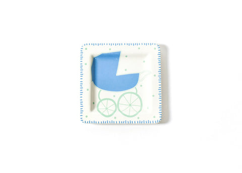 Coton Colors CC-BABY-7.5SQP-B Baby Carriage 7.5 Square Plate Boy