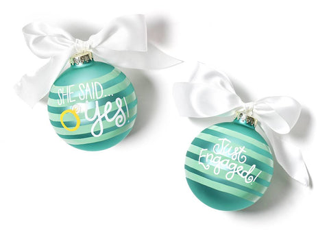 Coton Colors CC WED-YES She said Yes Just Engaged Glass Ornament