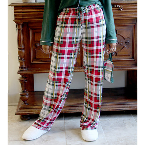 The Royal Standard 49017 Plaid Tidings Sleep Pants White/Red/Green Large