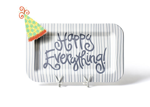 Coton Colors CC HEV-165-STN Stone Skinny Stripe Happy Everything Mini Rectangle Platter w/Pom Hat Attachment