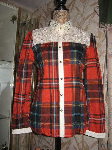 Forest Girl Red Plaid Shirt w Lace Beaded Collar - Batyana Boutique  - 1