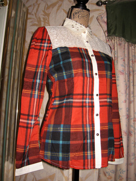 Forest Girl Red Plaid Shirt w Lace Beaded Collar - Batyana Boutique  - 2