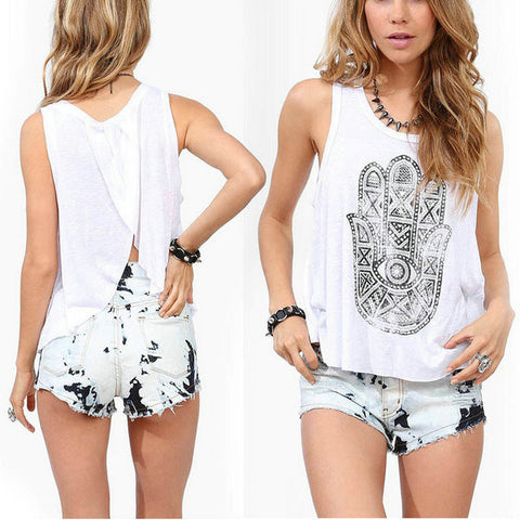 Almost Famous White Sheer Hamsa Coverup Tank