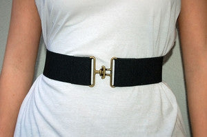 Lewis Cho Stretch Brass Buckle Belt - Batyana Boutique  - 1